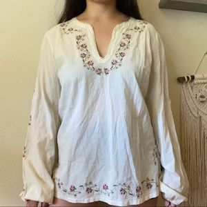 LUCKY BRAND FLORAL EMBROIDERED BOHO BLOUSE